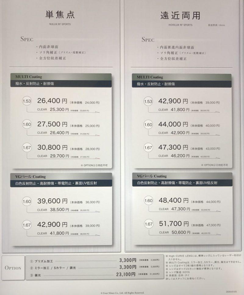 フォーナインズのサングラスライン「feelsun」の価格表(スポーツ用)