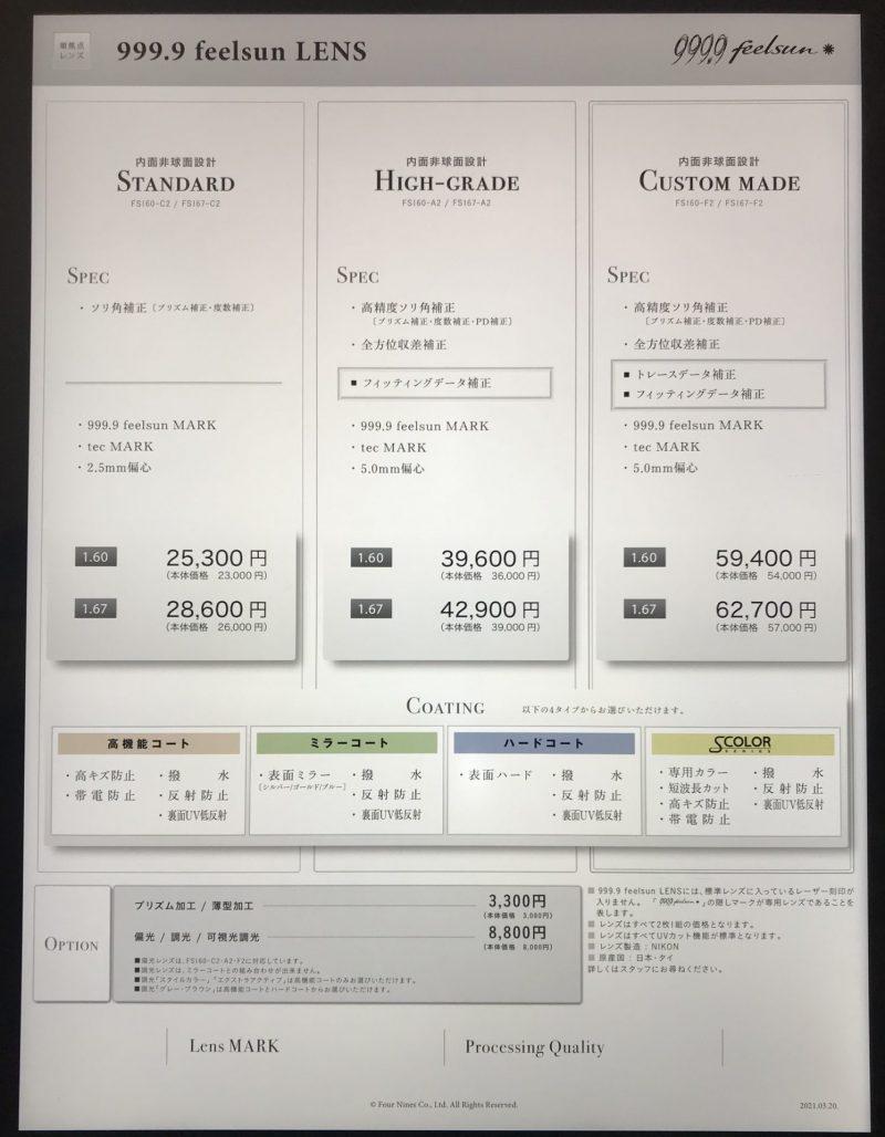 フォーナインズのサングラスライン「feelsun」の価格表(スタンダード)