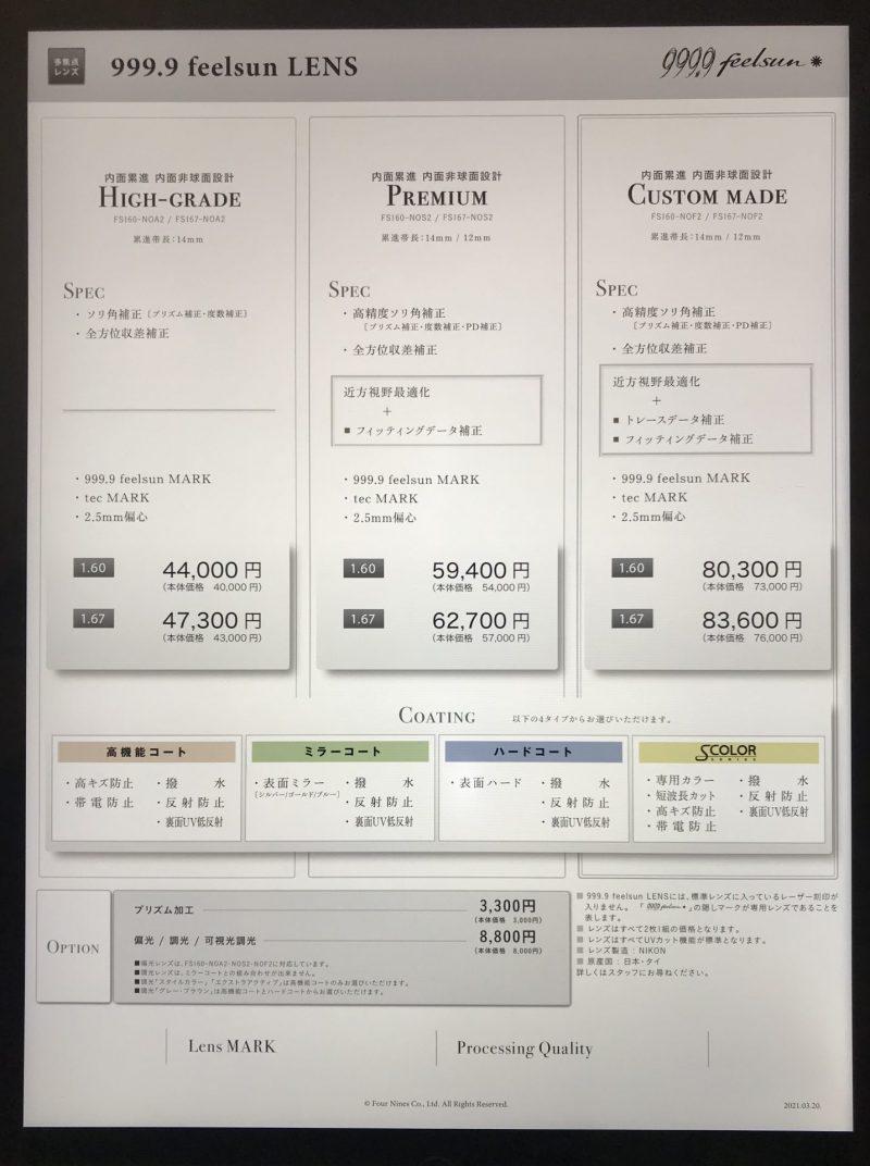 フォーナインズのサングラスライン「feelsun」の価格表(遠近)
